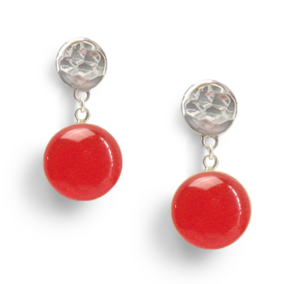 Holiday Red Hammered Sterling Silver Drop Earrings by Kate and Moose