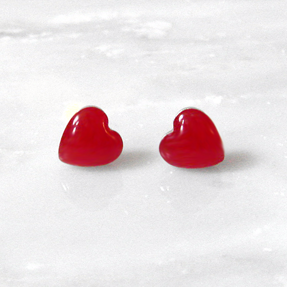 poppy red small sterling silver heart stud earrings by Kate and Moose