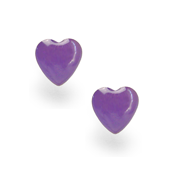 posey purple small sterling silver heart stud earrings