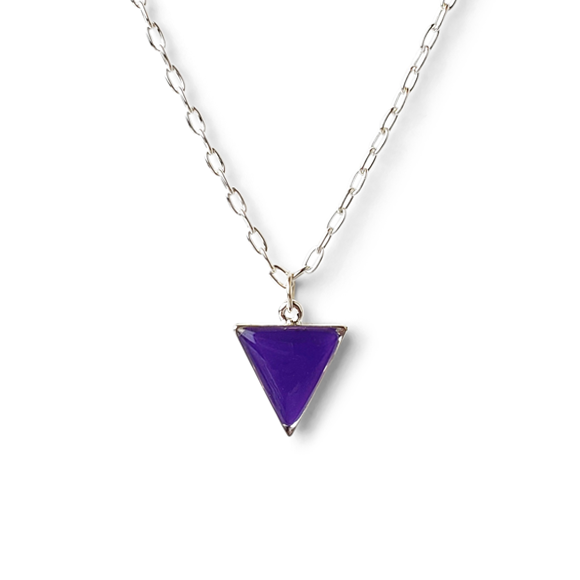 purple pewter and fine silver triangle necklace by Kate and Moose