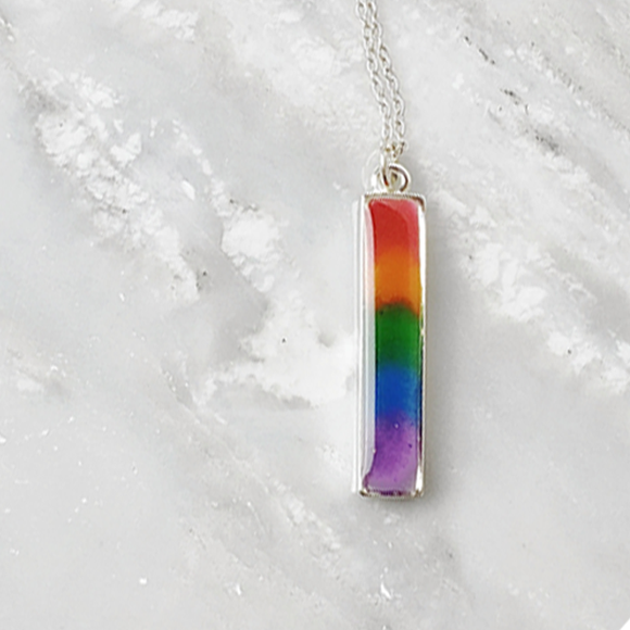 LGBT gay pride rainbow vertical bar necklace by Kate and Moose