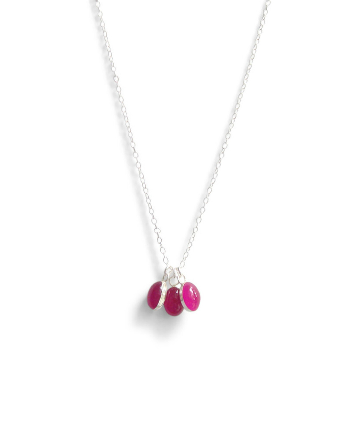 three tiny oval resin necklace in raspberry sorbet by Kate and Moose