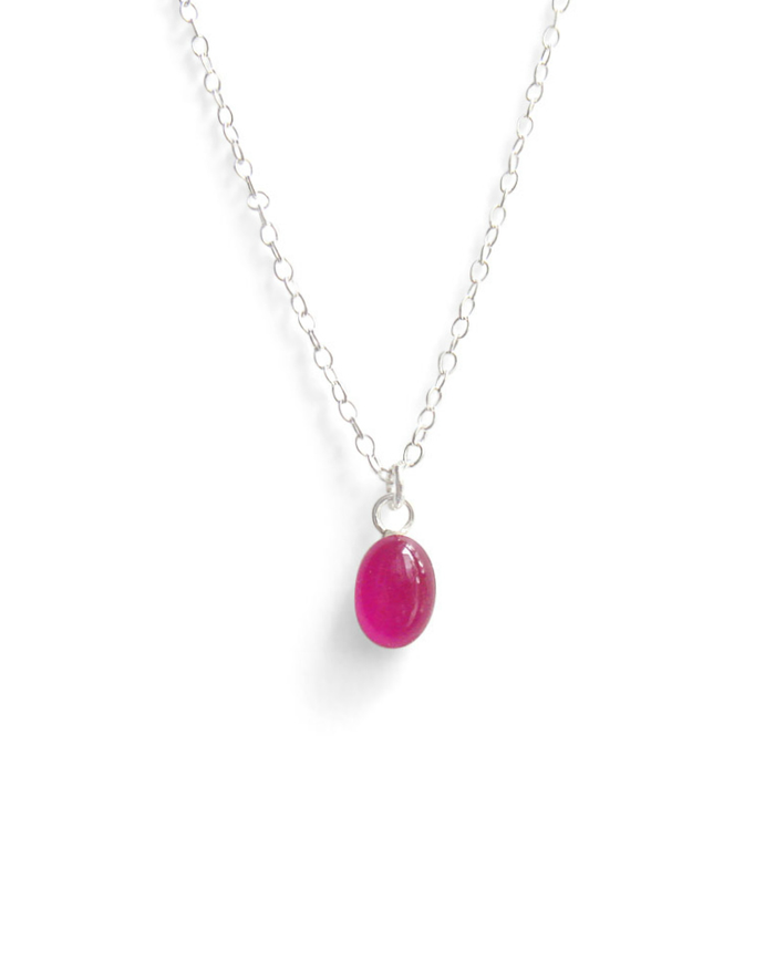 raspberry gelato tiny oval resin necklace by Kate and Moose