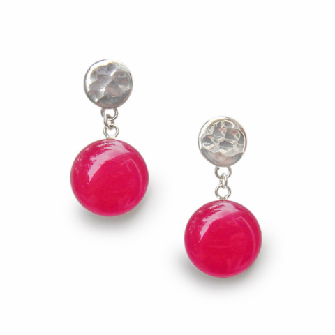raspberry resin dangle earrings by Kate and Moose