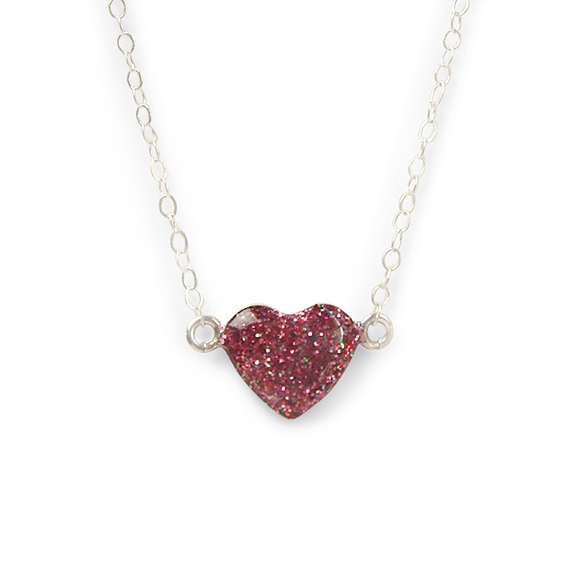 red and pink sterling silver heart necklace by Kate and Moose