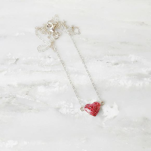 Pink and Red Glitter Sterling Silver Heart Necklace