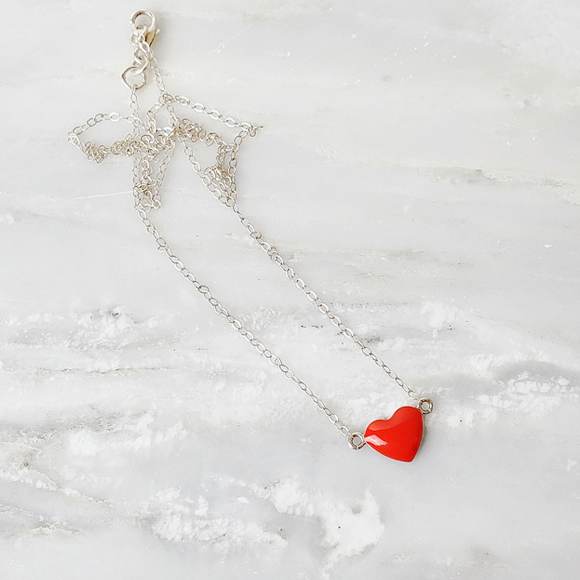 Red Sterling Silver Heart Necklace