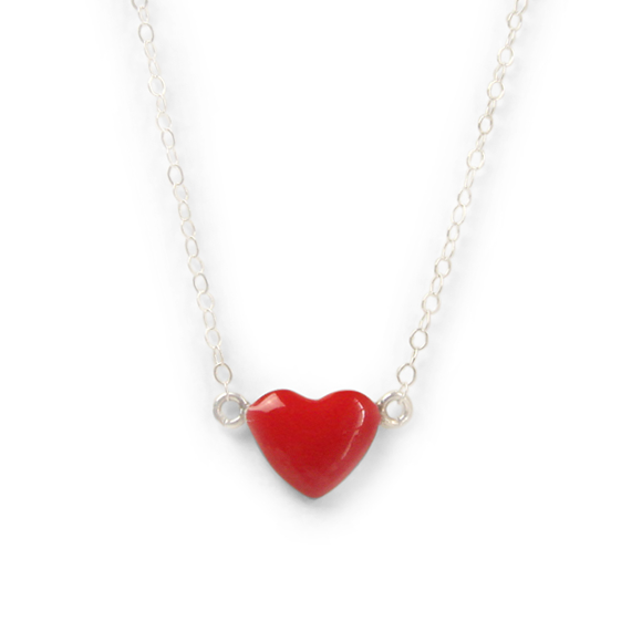 bold red sterling silver heart necklace by Kate and Moose