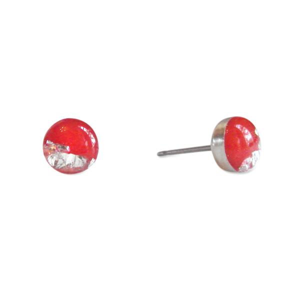 Red & Silver or Gold Stud Earrings