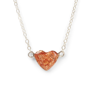 rose gold leaf sterling silver heart necklace by Kate and Moose