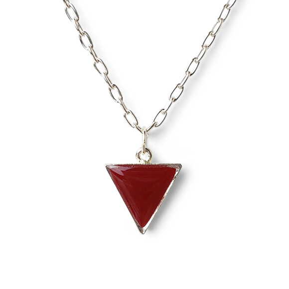ruby red pewter and fine silver triangle necklace by Kate and Moose