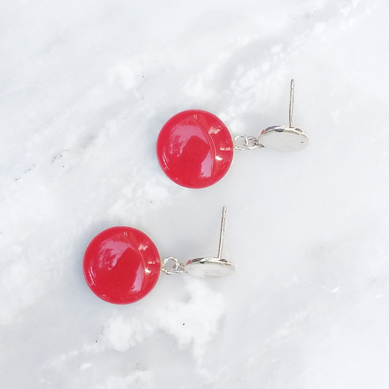salsa red dangle earrings by Kate and Moose
