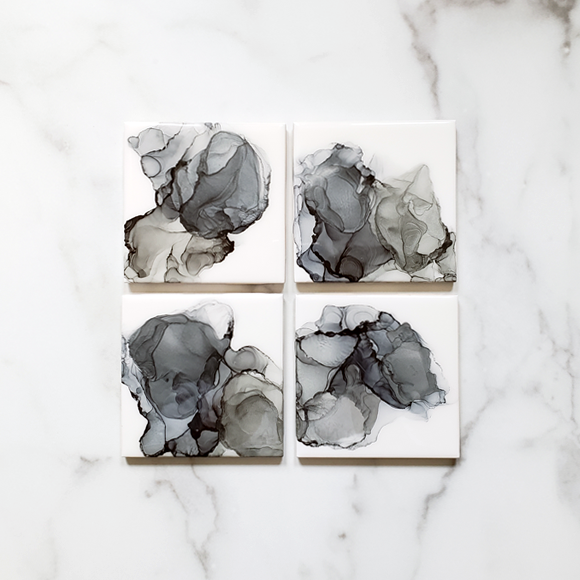 full set of shades of gray alcohol ink ceramic tile coasters