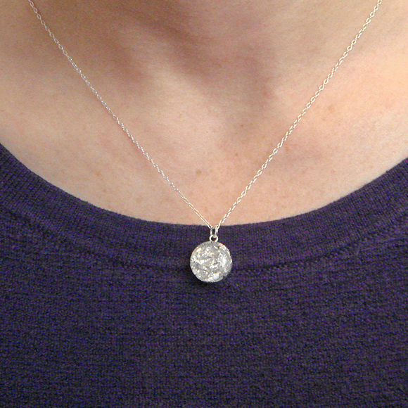 silver flake resin necklace by Kate and Moose