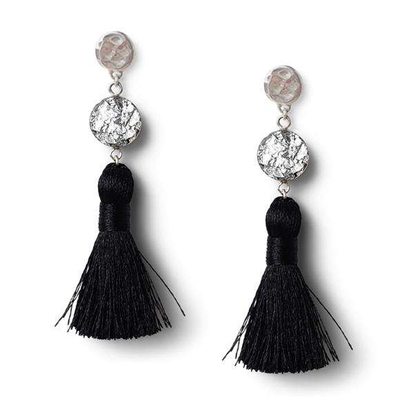 Silver Flake with Black Tassel Earrings