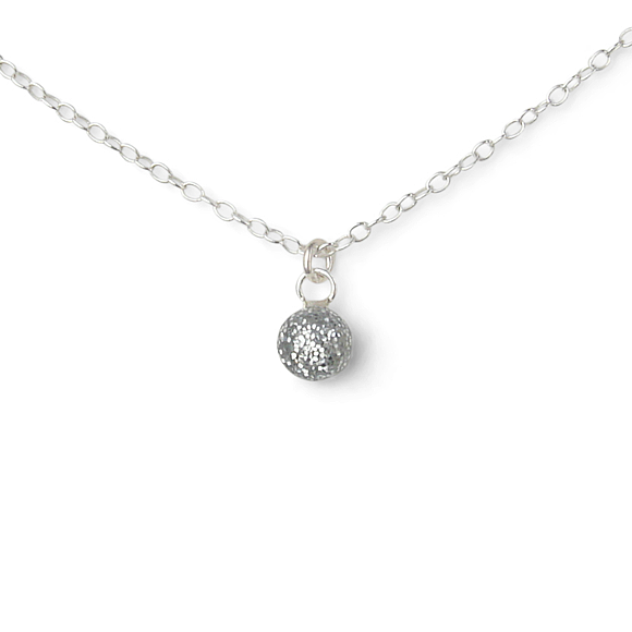 silver glitter tiny confetto sterling silver necklace by Kate and Moose