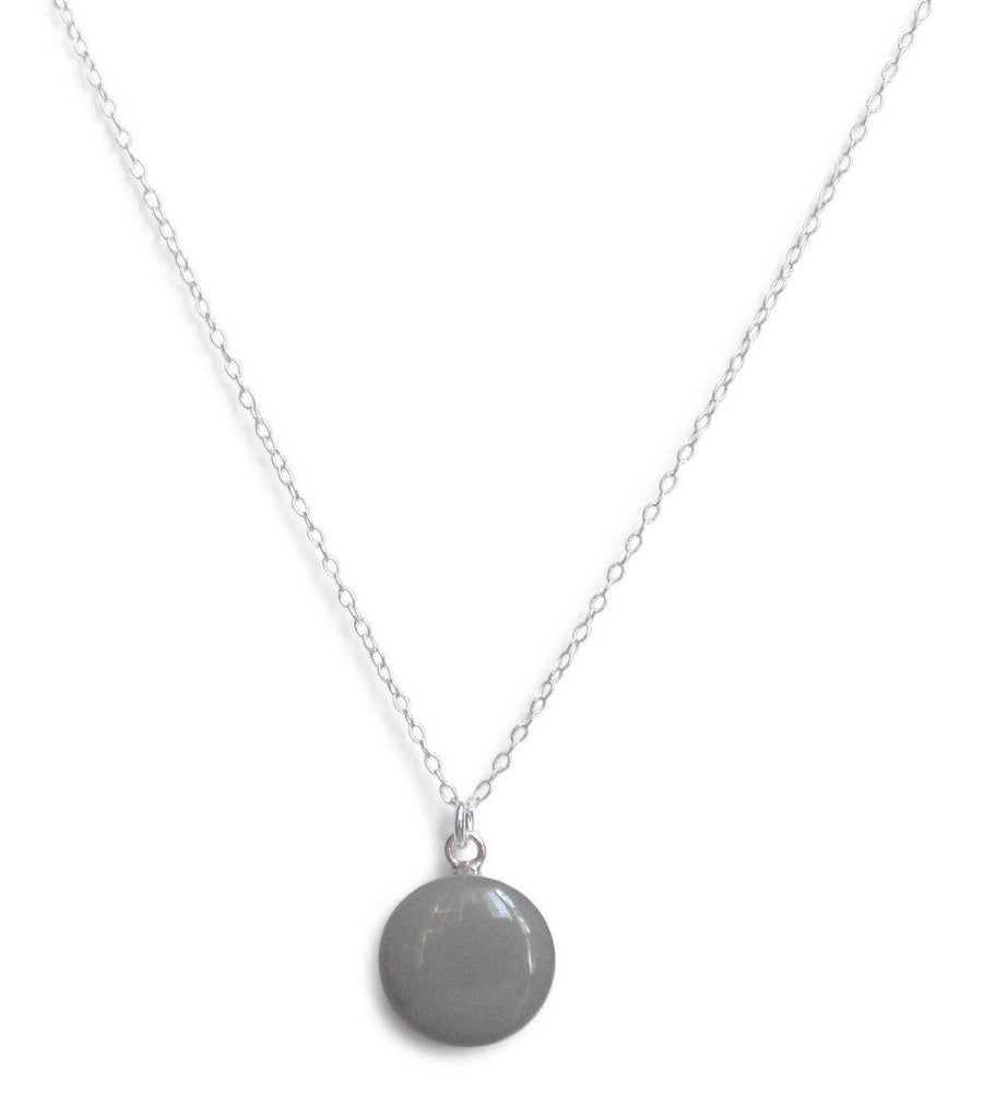 Slate Gray Resin Necklace with Sterling Silver Chain