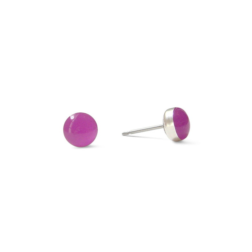large vivid violet resin stud earrings by Kate and Moose