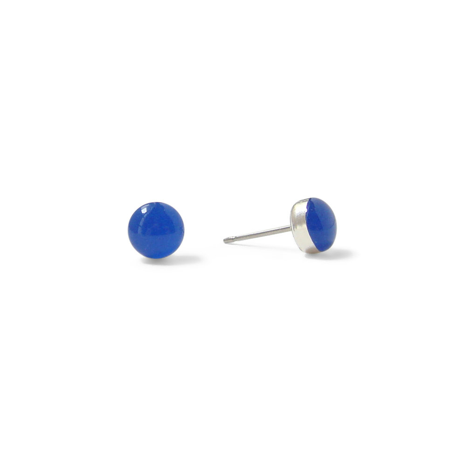 tiny Azure Blue resin stud earrings by Kate and Moose