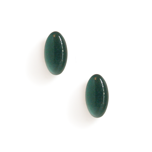 evergreen resin filled sterling silver small oval stud earrings by Kate and Moose