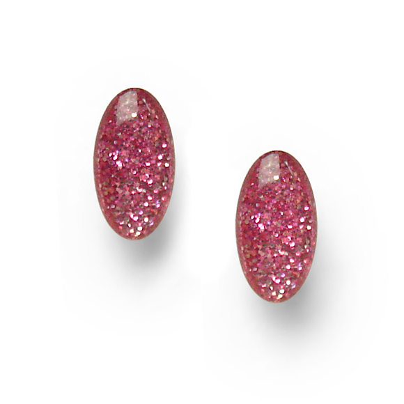 red and pink glitter mini oval sterling silver stud earrings by Kate and Moose