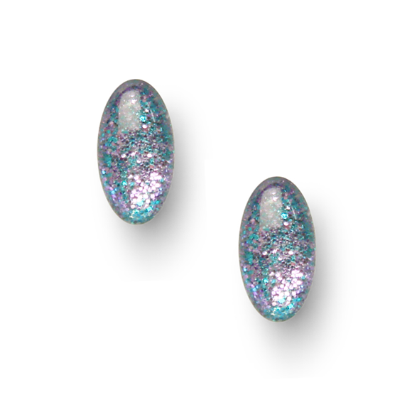Lavender and Teal Glitter Mini Oval Stud Earrings