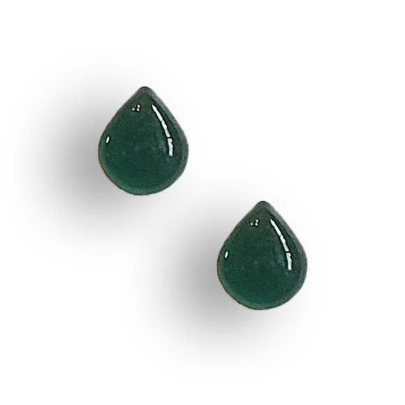 evergreen resin filled sterling silver small teardrop stud earrings by Kate and Moose