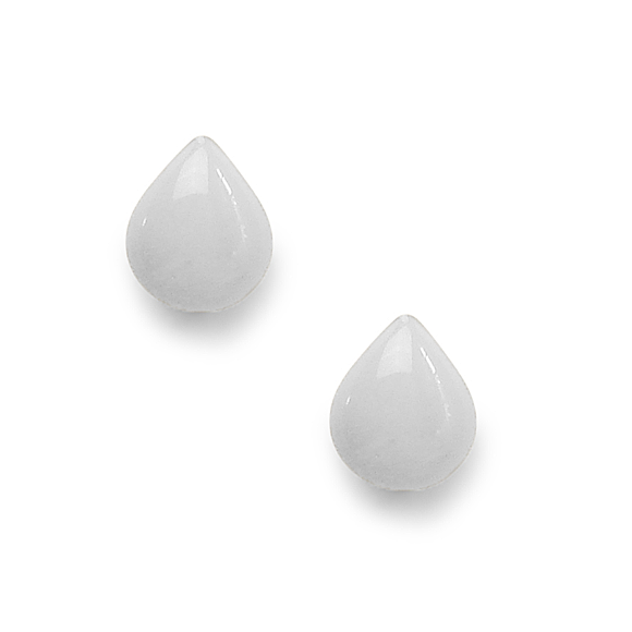 light gray resin filled sterling silver small tear drop stud earrings by Kate and Moose