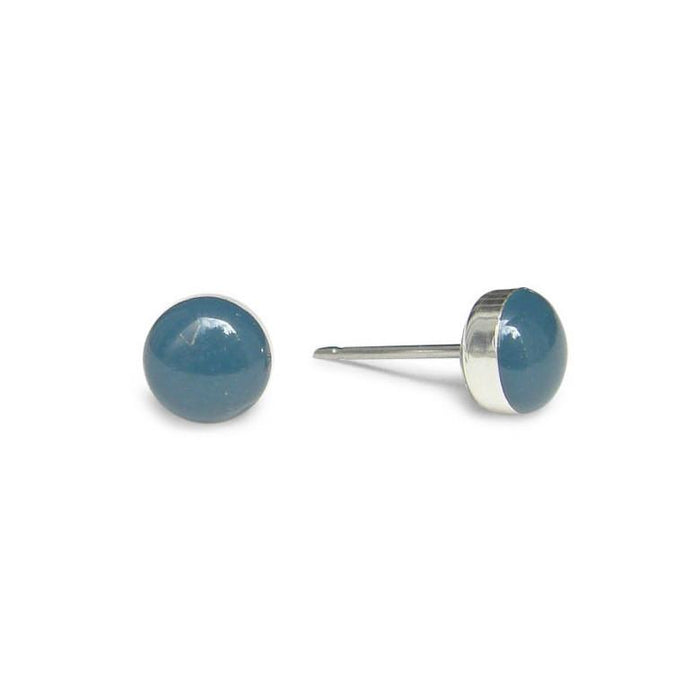 small Blue Grey Stud Earrings by Kate and Moose