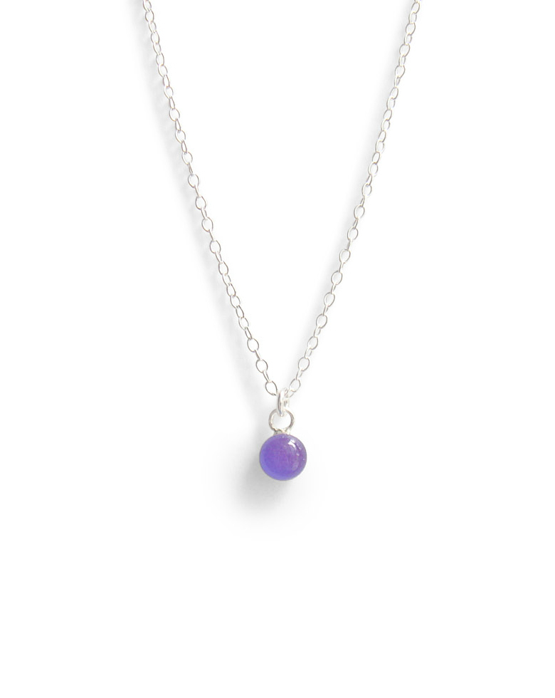 Spanish Violet Tiny Dot Layering Necklace with Sterling Silver Chain