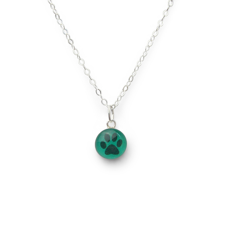Confetto - Spearmint Green Pawprint Small Layering Necklace