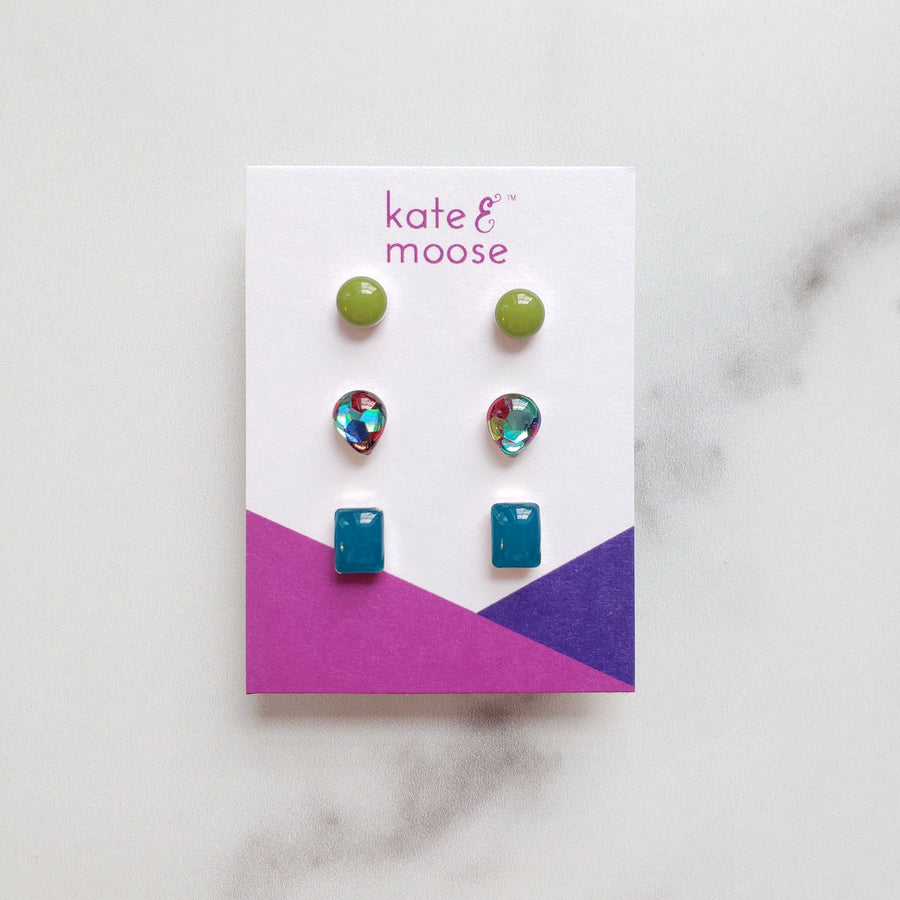 sterling silver lime green, ocean blue and mixed glitter small stud earring gift set by Kate & Moose