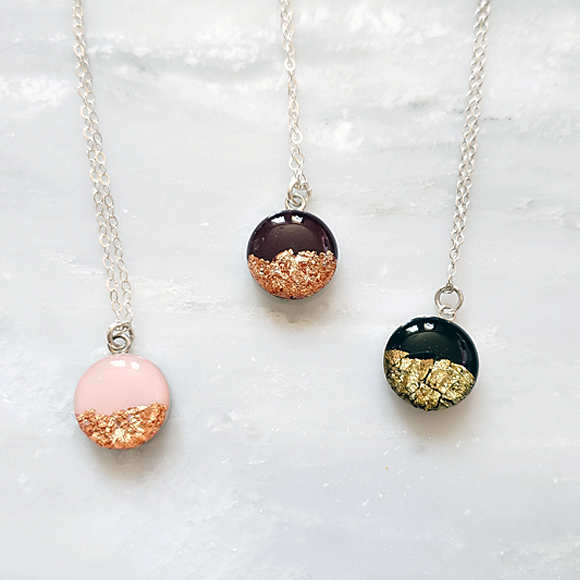 gold and rose gold foil sterling silver confetto necklaces by Kate and Moose