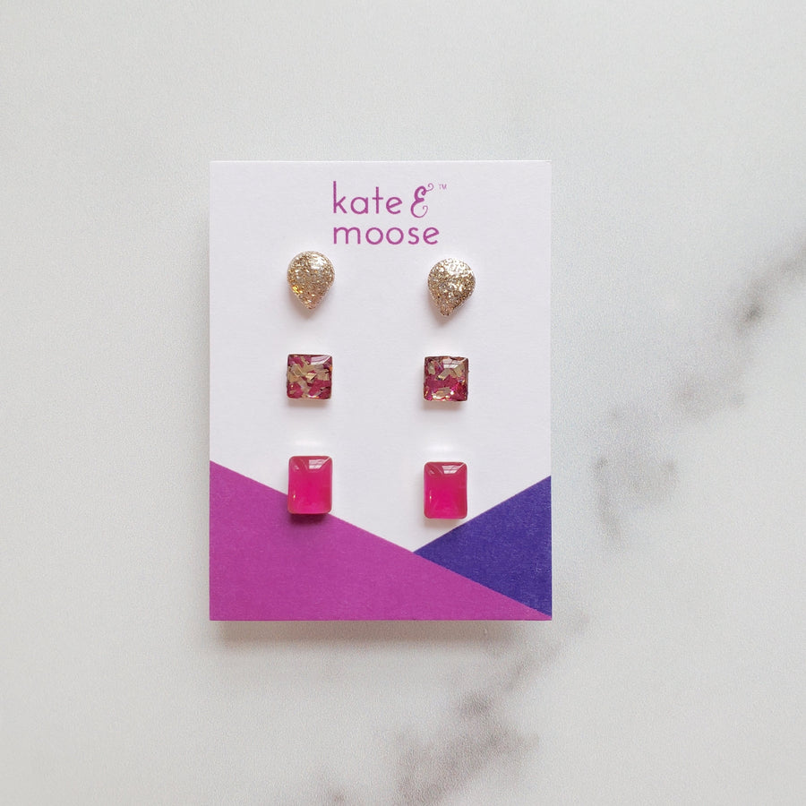 sterling silver hot pink and mixed glitter small stud earring gift set by Kate & Moose