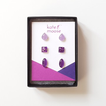 Purple Ombré Small Stud Earrings
