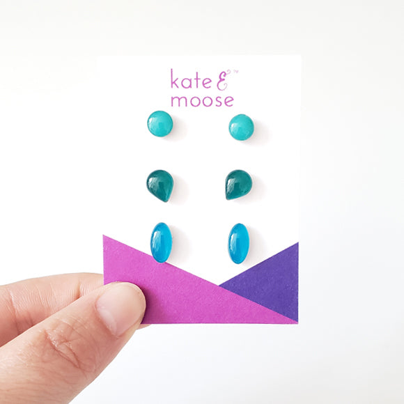 Blue Ombré Small Stud Earrings