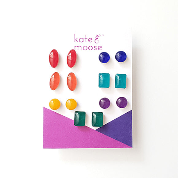 Vibrant Rainbow Small Stud Earrings