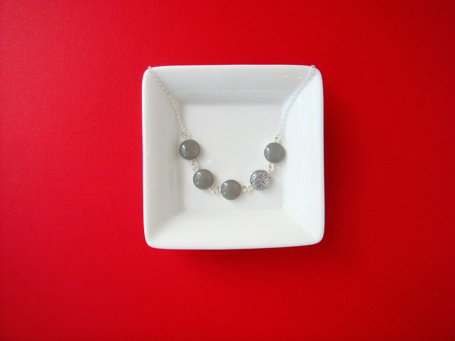 Slate Gray and Silver Glitter Resin Necklace with Sterling Silver Chain