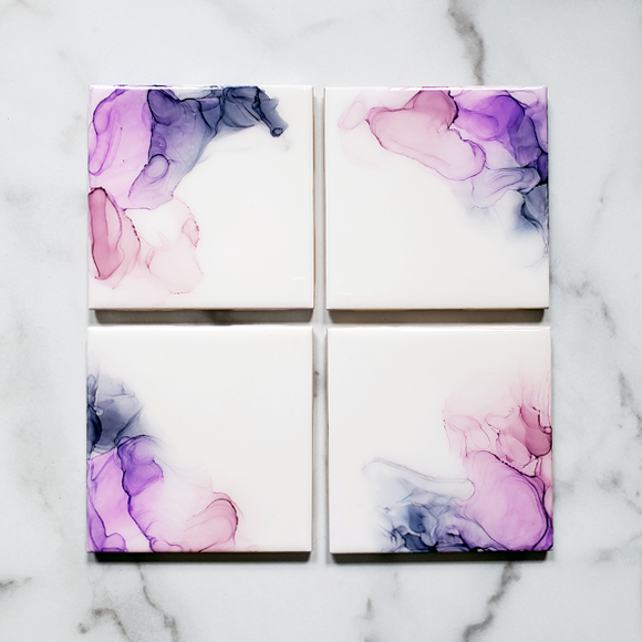 Sunset Inspired Ceramic Tile Drink Coasters