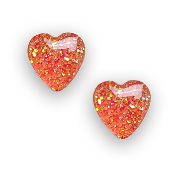 orange glitter sterling silver heart stud earrings by Kate and Moose