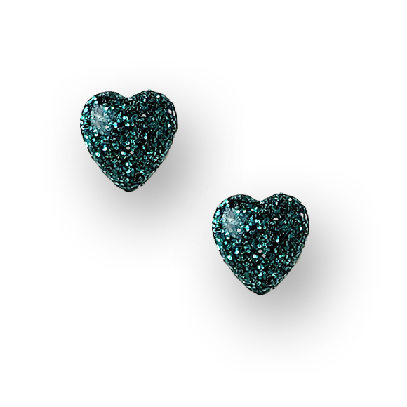 teal glitter small heart sterling silver stud earrings by Kate and Moose