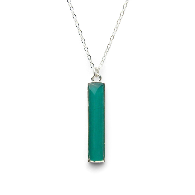Straight Up - Opaque Teal Bar Necklace