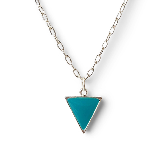 teal pewter and fine silver triangle necklace by Kate and Moose