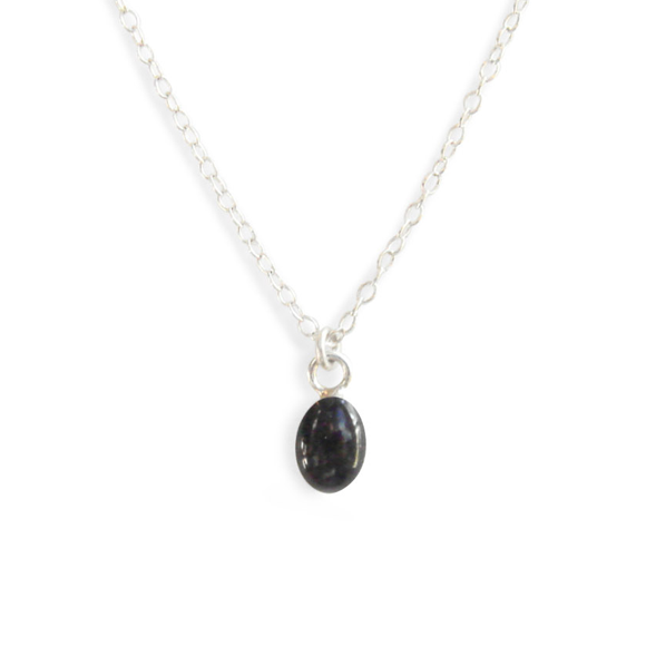 Confetto - Black Tiny Oval Layering Necklace