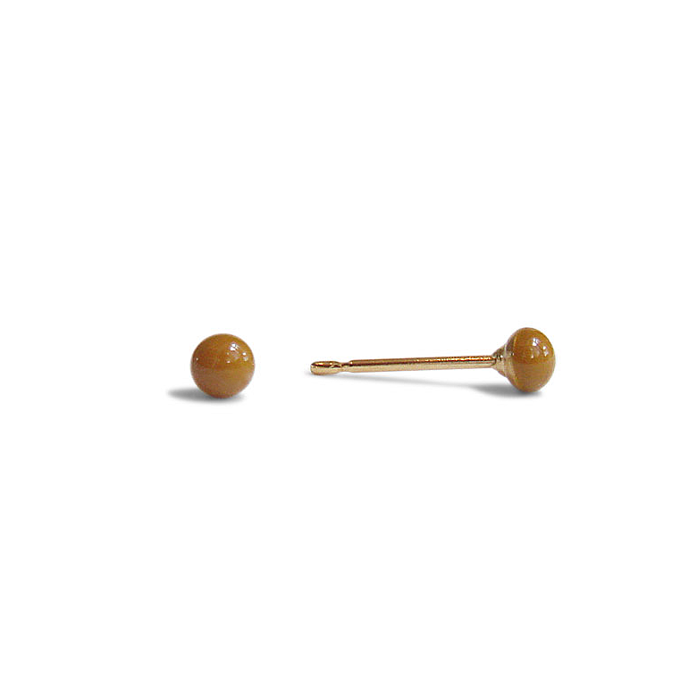 tiny cognac stud earrings by Kate and Moose