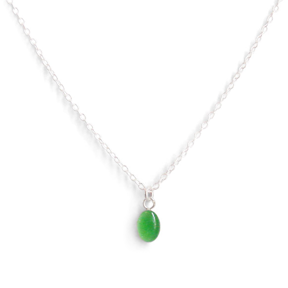 Vibrant Fall Green Tiny Oval Layering Necklace