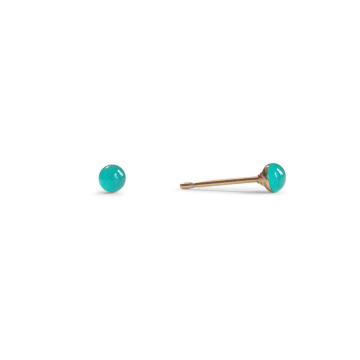 tiny winter mint green resin stud earrings by Kate and Moose