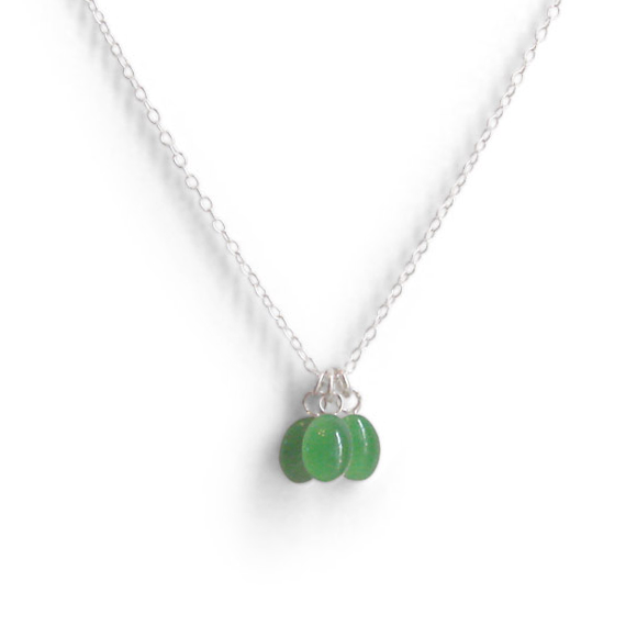 Vibrant Fall Green Tiny Triple Oval Layering Necklace