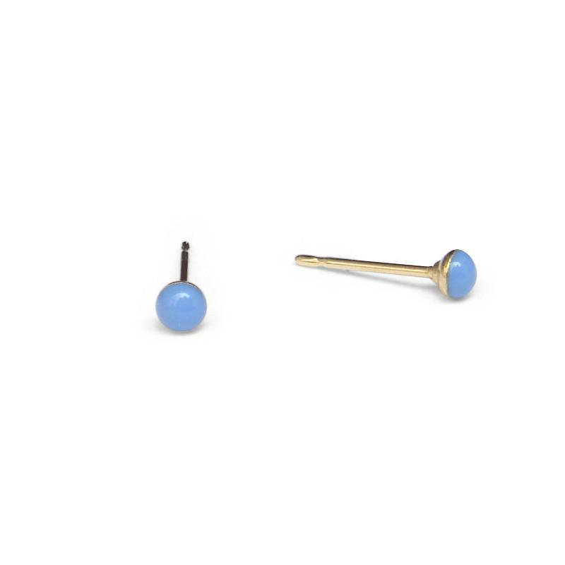 tiny Periwinkle Stud Earrings by Kate and Moose