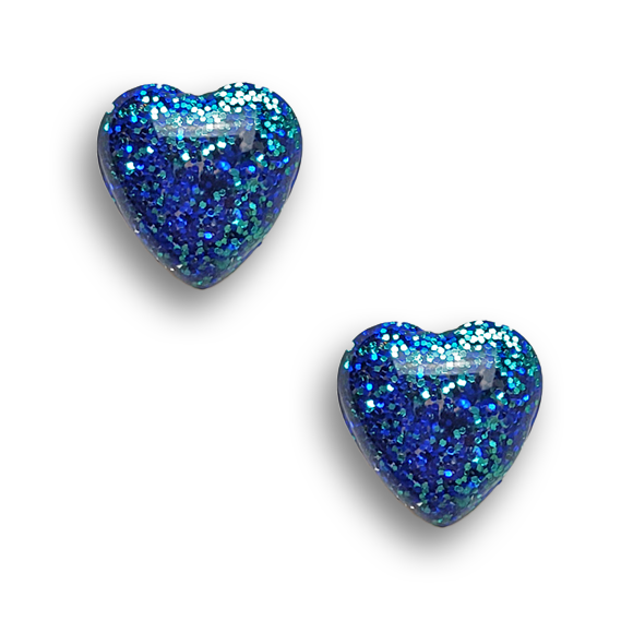 cobalt and turquoise blue glitter embedded sterling silver heart stud earrings by Kate and Moose